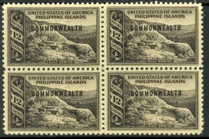 US PHILIPPINES 1938-40 12c SALT SPRING Commonwealth Ovpt BLOCK OF 4 Sc 438 MH