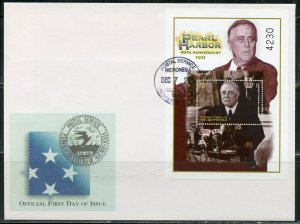MICRONESIA 2001 REMEMBER PEARL HARBOR FDR & ARIZONA S/S FIRST DAY COVERS