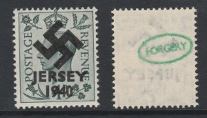 Jersey 1940 Swastika opt on Great Britain KG6  4d grey-green