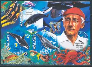 MALAWI 2012 WHALES JACQUES IVES COUSTEAU SHEETLET OF THREE STAMPS IMPERF