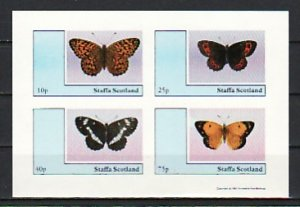 Staffa Local. 1981 issue. Butterflies IMPERF sheet of 4. ^