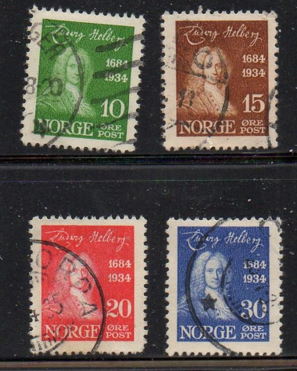 Norway Sc 158-61 1934 Holberg stamp set used