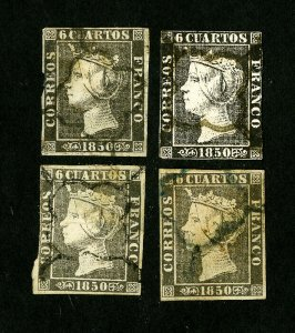 Spain Stamps # 1 + 1a-c Fresh Used Catalog Value $94.00