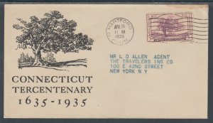 US Planty 772-25 FDC. 1935 3c Charter Oak, FIRST CACHET Travelers Insurance Co.