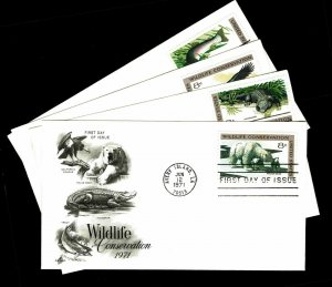 U.S. #1427-30 Wildlife Conservation First Day Covers - Set of 4 Covers (ESP#047)