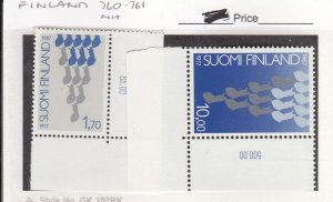 J26022  jlstamps 1987 finland set mnh #760-1 independence, all checked