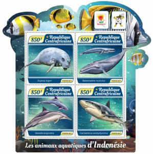 Z08 IMPERF CA17514a Central Africa 2017 Water Animals Indonesia MNH ** Postfrisc