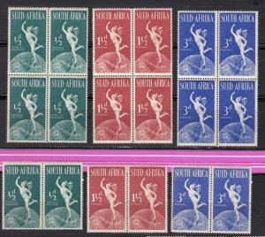 J28460, 1949 south africa mnh set + blks/4 #109-11 mercury/globe