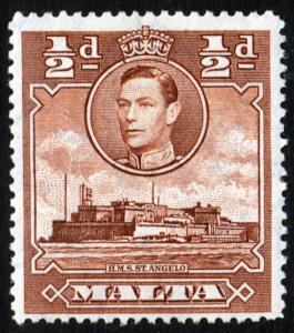 Malta KGVI 1938 0.5d Red-Brown SG218a Mint Hinged