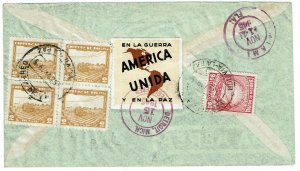 Bolivia 1945 La Paz cancel on registered, airmail cover to the U.S., label