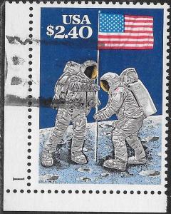 US 2419 Used - Moon Landing, 20th Anniversary - Plate Number Single