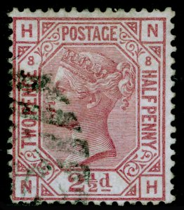 SG141, 2½d rosy mauve plate 8, USED. Cat £85. NH