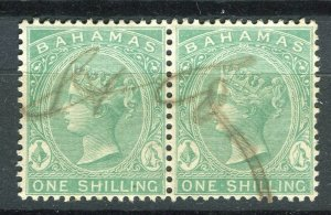 BAHAMAS; 1865- classic QV Crown CC Revenue used Shade of 1s. Pair