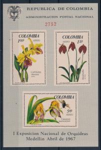 [63739] Colombia 1967 Flora Flowers Blumen Orchids Airmail Souvenir Sheet MNH