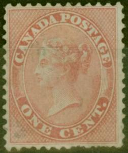 Canada 1859 1c Pale Rose SG29 Good Lightly Used
