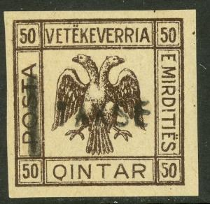 ALBANIA MIRDITE REPUBLIC 1921 50q DOUBLE HEAD EAGLE Postage Due Unauthorized MH