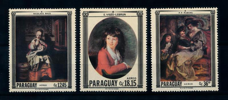 [72412] Paraguay 1967 Paintings Maes Rubens Airmail Stamps MNH
