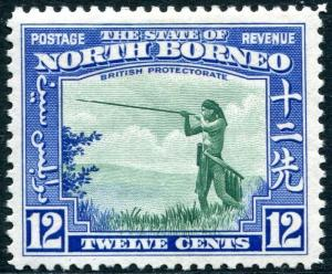 NORTH BORNEO-1939 12c Green & Royal Blue Sg 310 LIGHTLY MOUNTED MINT V28570