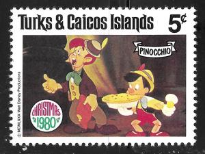 Turks & Caicos Islands #448 5c Christmas-Scenes from Pinocchio MHR