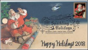 18-275, 2018, Sparkling Holidays, Pictorial,, First Day Cover, Christmas, Santa