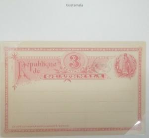O) 1890 GUATEMALA, COAT OF ARMS - NATIONAL BIRD QUETZAL, POSTAL STATIONERY 3 CEN