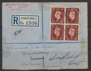 GB 1937 Cover w/ SG 464 dated FDC to Canada see reverse/scans SC 237 free shi...
