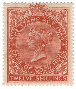 (I.B) Cape of Good Hope Revenue : Stamp Duty 12/- (1885) plate flaw