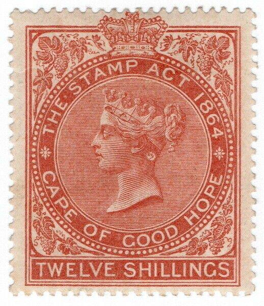 (I.B) Cape of Good Hope Revenue : Stamp Duty 12/- (1885) plate flaw
