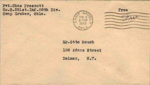 United States A.P.O.'s Soldier's Free Mail 1943 Camp Gruber, Okla. 351st Infa...