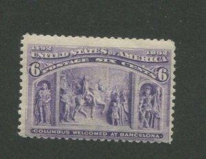 1893 United States Postage Stamp #235 Mint Never Hinged Original gum