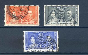 Straights Settlements 1937 Coronation set SG275/77 Fine Used