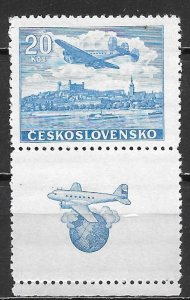 Czechoslovakia C24 20k Plane Tab single MNH