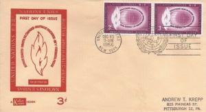 UN #47 3c HUMAN RIGHTS FDC 1956 - Kolor Kover