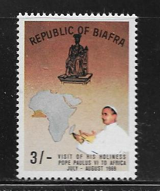BIAFRA 30a  MNH POPE PAUL, BROWN BACKGROUND ISSUE