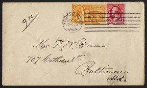 E32 U.S. Scott #E3 orange Special Delivery cover May 4, 1894. SCV = $200