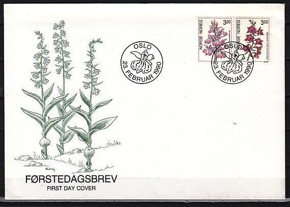 * Norway, Scott cat. 970-971. Orchids, Part 1 issue on a First day cover.