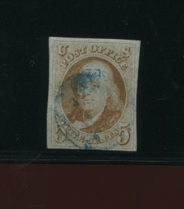 Scott 1 Franklin Imperf Used Stamp with Nice Cancel (Stock 1-A13)