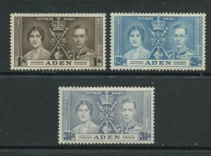 ADEN - Scott 13-15 - Coronation Issue - 1937- MVLH - Set of 3 Stamps