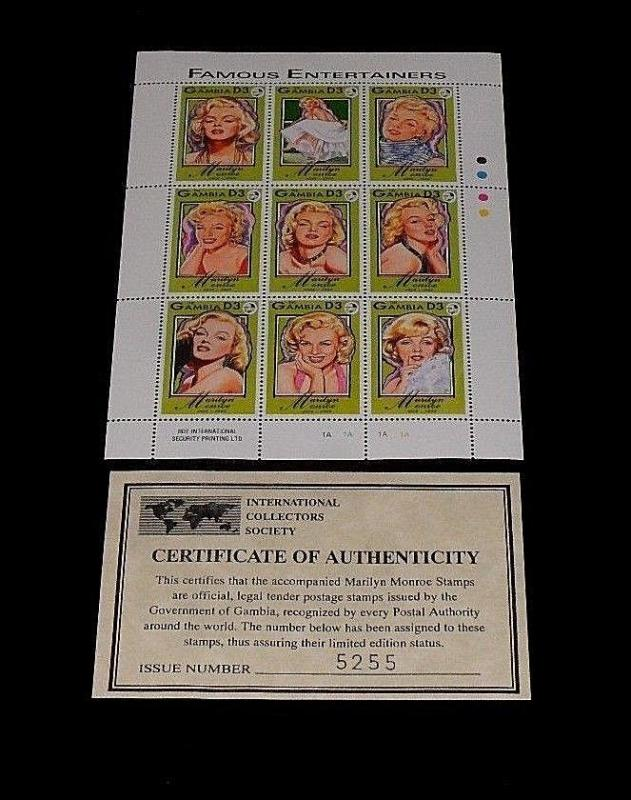 1995, GAMBIA, MARILYN MONROE, LIMITED EDITION, SHEET/9, MNH, W/COA