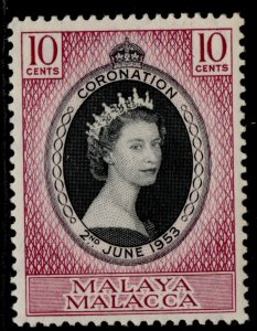 MALAYSIA - Malacca QEII SG22, 10c black & reddish purple 1953 CORONATION, M MINT