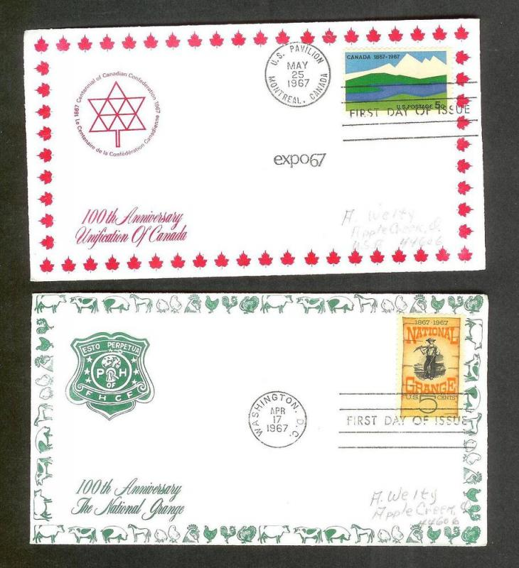 UNITED STATES FDCs (6) 1967 Border Craft Cachets