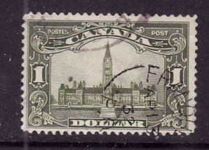 Canada-Sc#159-used $1 Parliament-dated Single broken circle - Franquet, PQ-Ap 13
