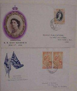 NORTHERN RHODESIA FDC CORONATION 1948,1953 CACHETED