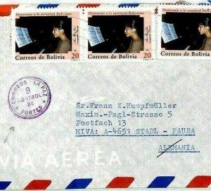 BOLIVIA Cover *La Paz Control 9* CENSOR/EXAMINER Missionary 1983 Air Mail CM192