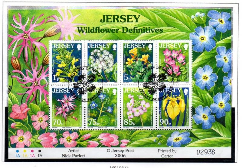 Jersey Sc 1235a 2006 Wildflowers stamp sheet used