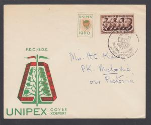 South Africa Sc 235 on 1960 UNIPEX Cover with UNIPEX label, official cachet