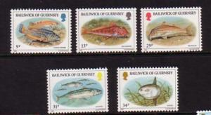 Guernsey Sc 308-12 1985 local fish stamps mint NH