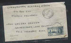 TRINIDAD & TOBAGO COVER (P3009B)1946 KGVI  PEACE 6C BELMONT TO USA