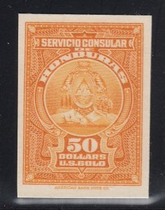 Honduras 1930's $50 Orange Consular Service Revenue ABNC Plate Proof