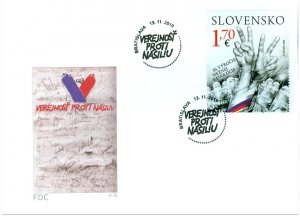 SLOVAKIA/2019 - (FDC) JOINT ISSUE WITH CZECHIA (The Velvet Revolution), MNH